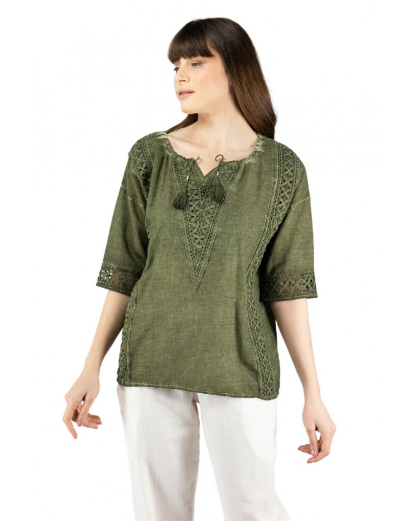 Women's Lace-up Collar Khaki Blouse