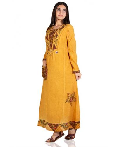 Women's Long Sleeves Embroidered Yellow Long Dress