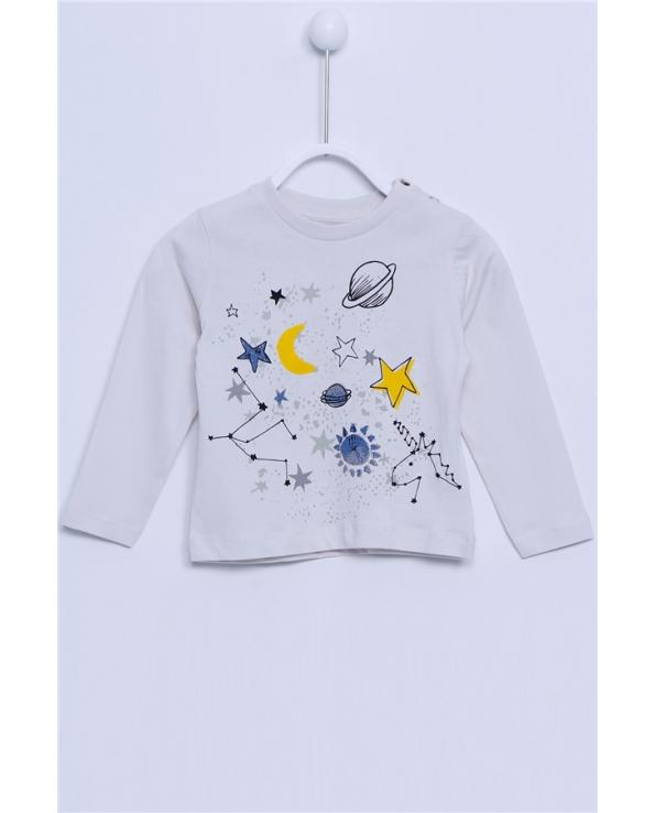 Baby Boy's Crew Neck Long Sleeves Button Detail Printed Grey T-shirt
