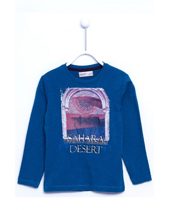 Boy's Long Sleeves Printed Mint Blue T-shirt