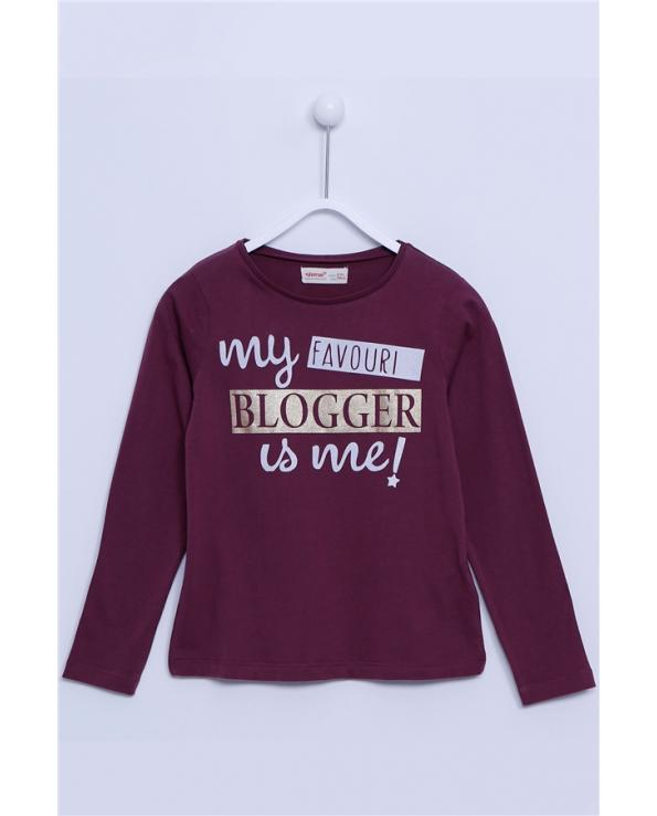 Teen Girl's Long Sleeves Printed Claret Red T-shirt