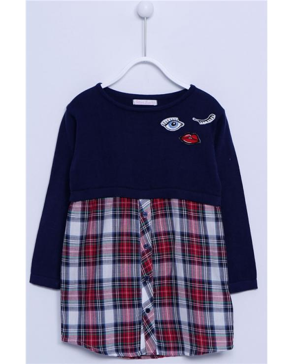 Girl's Long Sleeves Embroidered Navy Blue Tunic