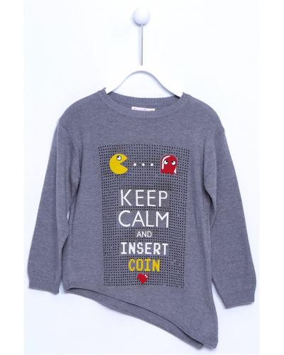 Girl's Crew Neck Printed Asymmetric Cut Grey Tricot Sweater