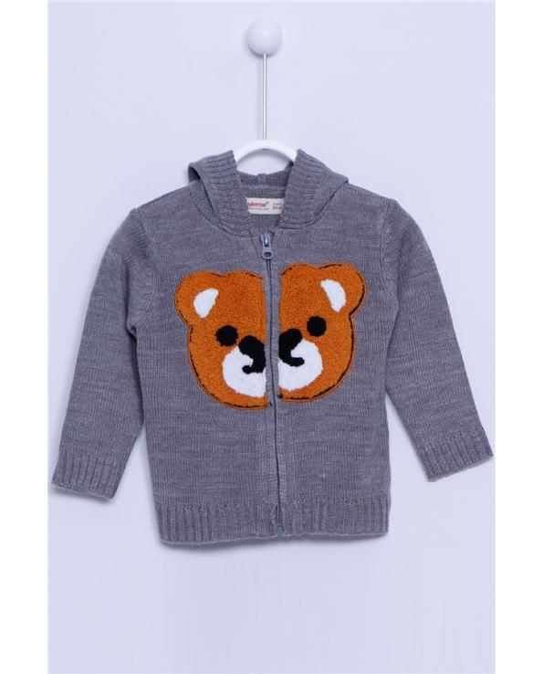 Baby Boy's Hooded Long Sleeves Zipped Dog Pattern Grey Tricot Cardigan
