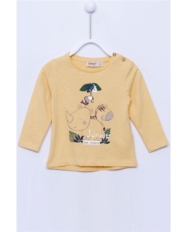 Baby Boy's Button Collar Long Sleeves Printed Beige T-shirt