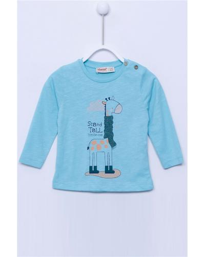 Baby Boy's Long Sleeves Printed Mint Blue T-shirt