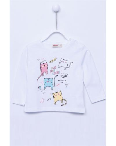 Baby Girl's Long Sleeves Printed White T-shirt