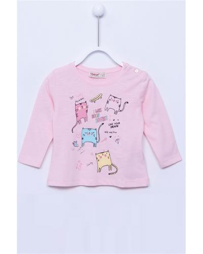 Baby Girl's Long Sleeves Printed Light Pink T-shirt