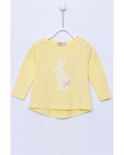 Baby Girl's Long Sleeves Printed Yellow T-shirt