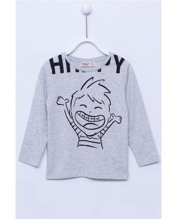 Boy's Long Sleeves Printed Grey T-shirt