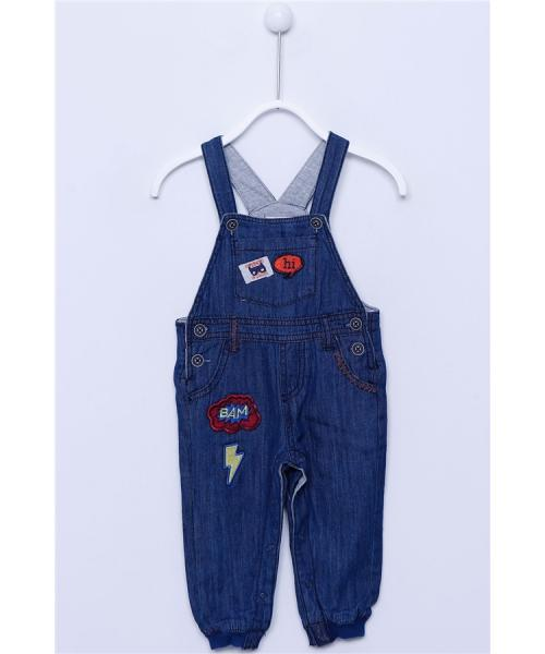 Baby Boy's Lined Embroidered Denim Overall