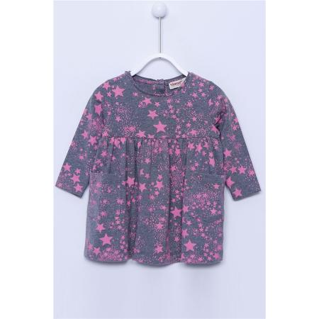 Baby Girl's Long Sleeves Star Print Anthracite Dress