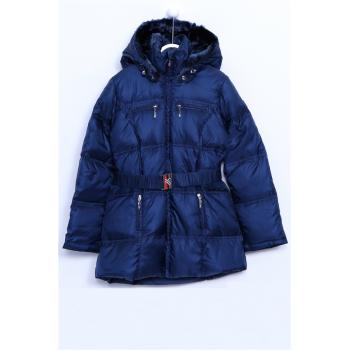 Girl's Hooded Inner Furry Belted Navy Blue Blown Coat