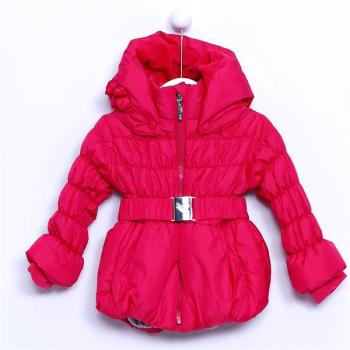 Baby Girl's Hooded Belted Fuchsia Blown Coat