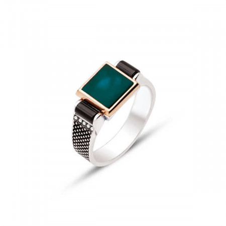 Men's Green Agate Stone Silver Ring