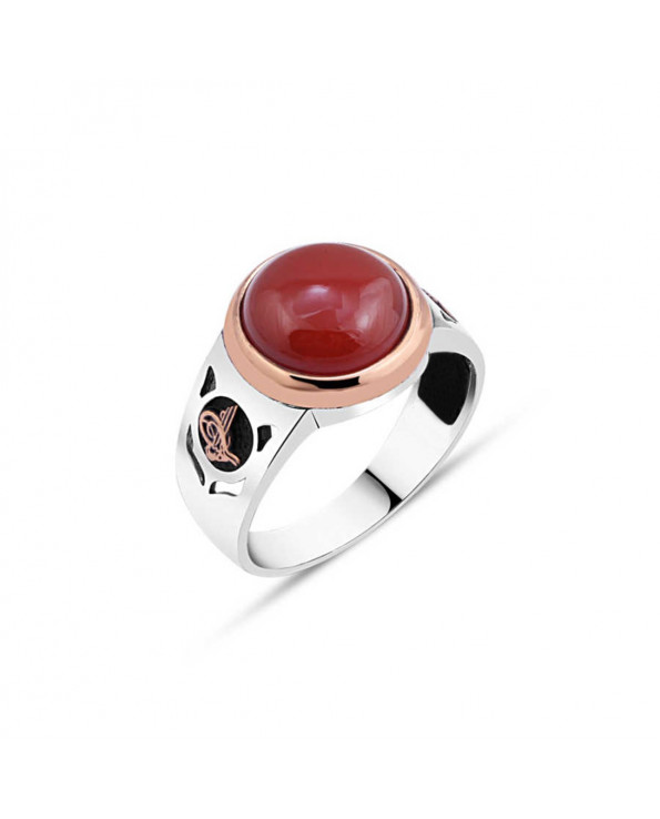 Men's Red Agate Stone Silver Ring
