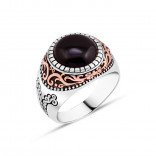 Men's Agate Stone Silver Ring