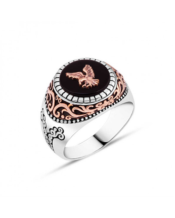 Men's Onyx Stone Eagle Design Silver Ring