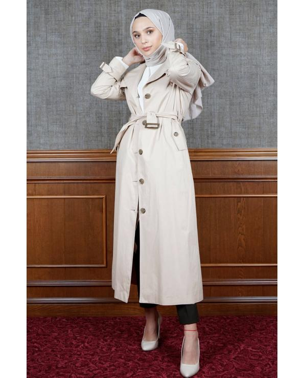 Women's Long Beige Modest Trenchcoat