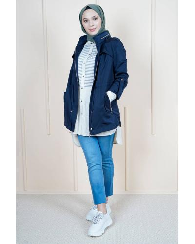 Women's Zipper Navy Blue Trenchcoat