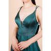 Women's Back Bow-tie Detail Emerald Green Satin Evening Dress