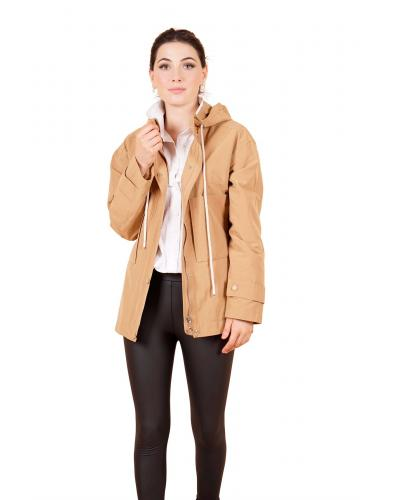 Women's Hooded Camel Short Trenchcoat