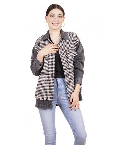Women's Houndstooth Pattern Black Denim Coat