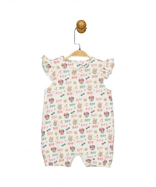 Baby's Short Sleeve Printed Shorts Romper