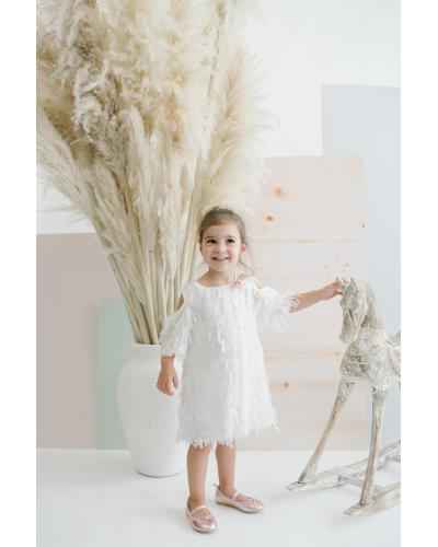 Girl's Fringe White Short Dress