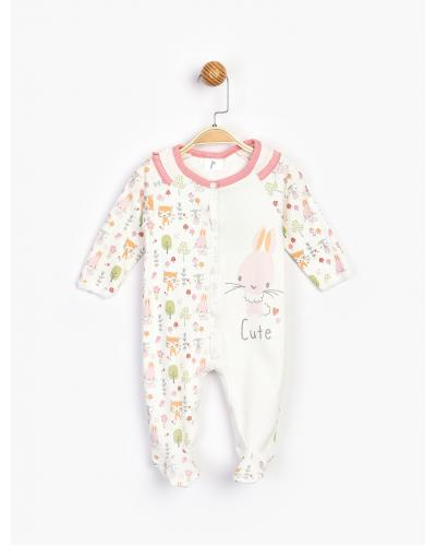 Baby's Printed Romper With Booties