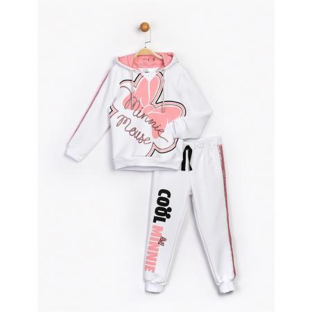 Girl's Hooded Printed White Tracksuit