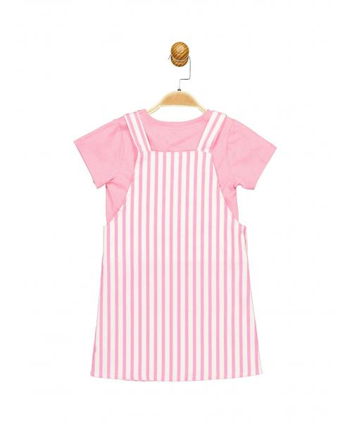 Girl's T-shirt And Striped Bib & Brace Dress Set