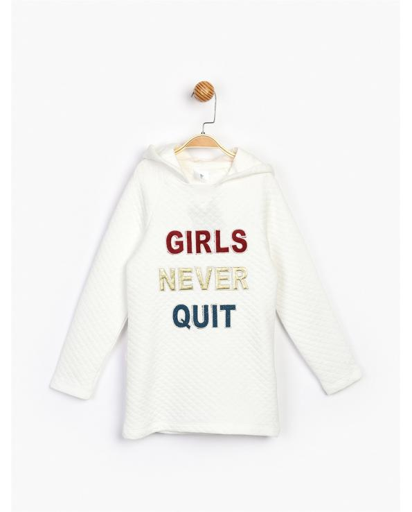 Girl's Ecru Quilted Dress