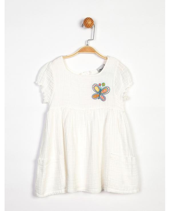 Girl's Butterfly Embroidered White Dress