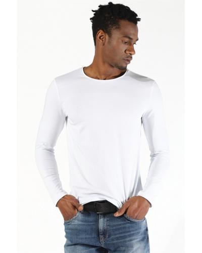 Men's Long Sleeves White T-shirt