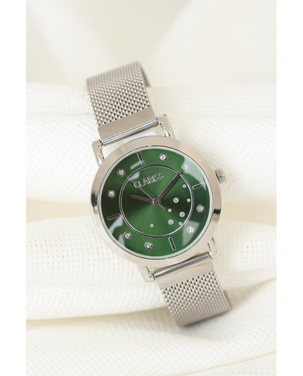 Women's Silver Plated Straw Metal Corded Green Inner Design Metal Case Watch