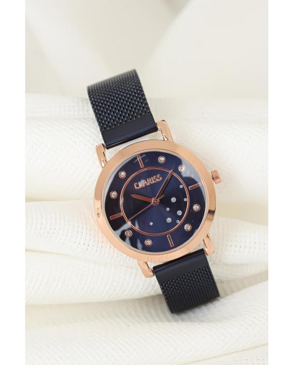 Women's Navy Blue Plated Straw Metal Corded Powder Rose Metal Case Watch