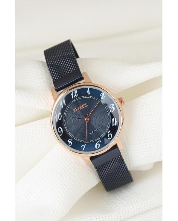 Women's Navy Blue Plated Straw Metal Corded Watch