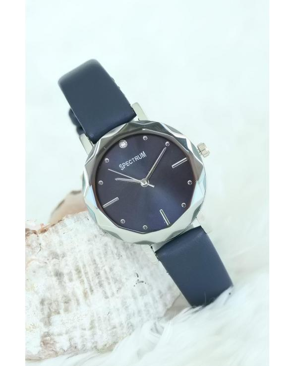 Women's Metal Case Navy Blue Leather Strap Watch