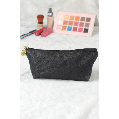 Women's Glitter Black Makeup Bag