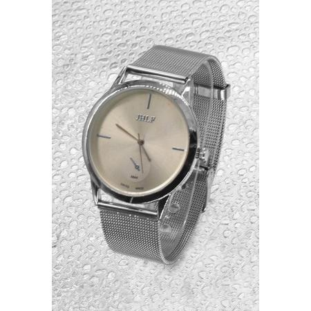 Men's Silver Straw Metal Watch
