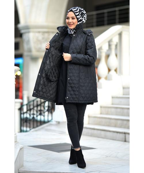Women's Oversize Black Quilted Coat