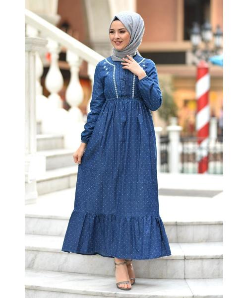 Women's Ruffle Dotted Dark Blue Denim Long Dress