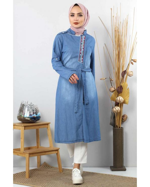 Women's Embroidered Light Blue Denim Modest Tunic