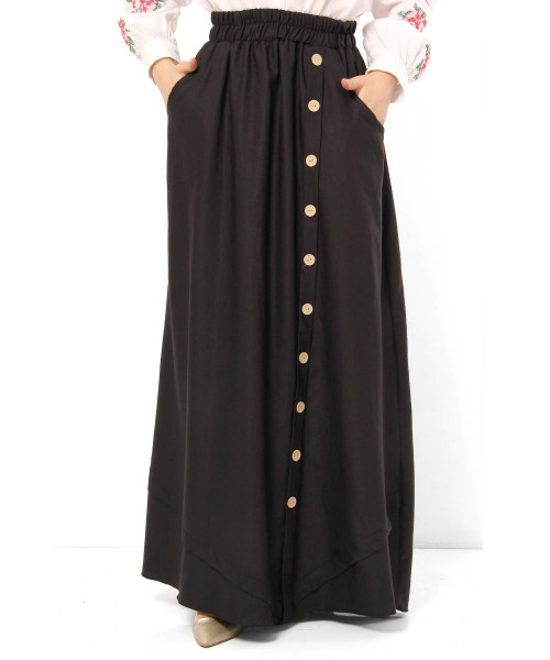 Women's Fancy Button Black Modest Long Skirt