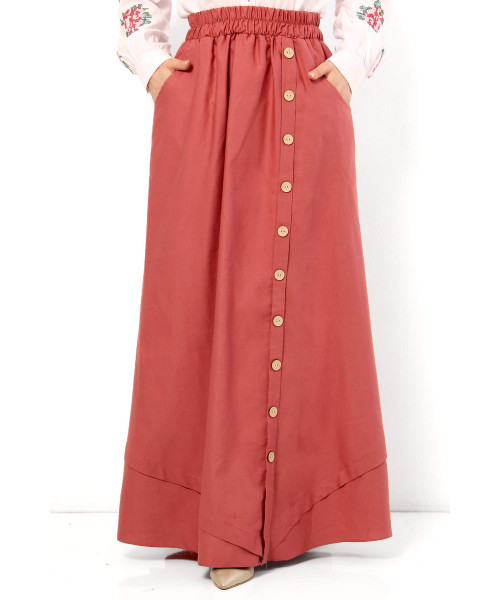 Women's Fancy Button Vermilion Modest Long Skirt