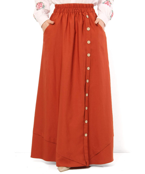 Women's Fancy Button Tile Red Modest Long Skirt