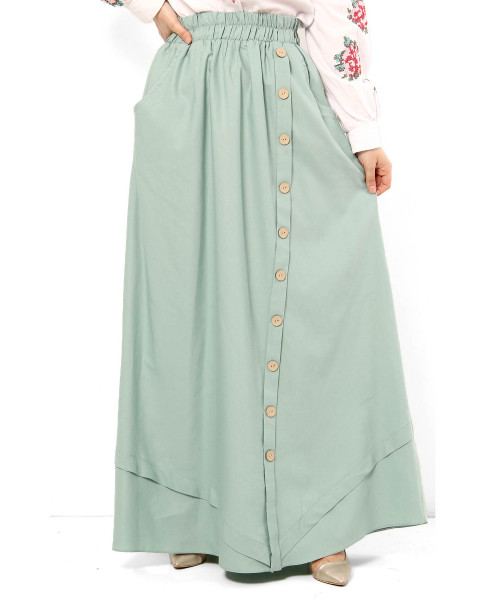Women's Fancy Button Mint Green Modest Long Skirt