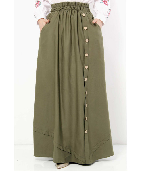 Women's Fancy Button Khaki Modest Long Skirt
