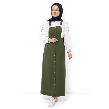 Women's Khaki Summer Long Bib& Brace Dress
